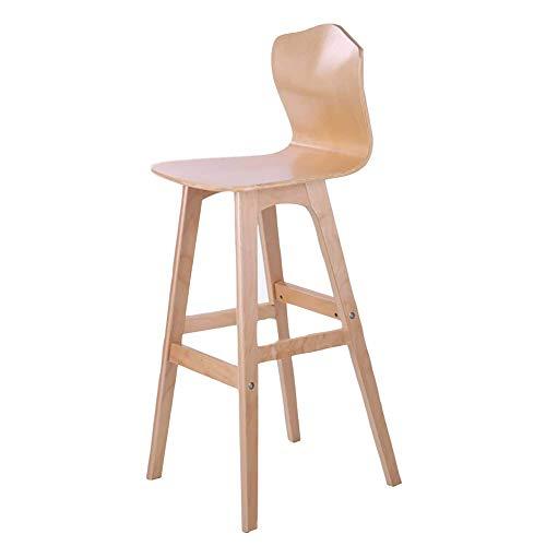 BAICHEN Barstuhl aus massivem Holz, Einfaches Massivholz Hochstuhl Küche Esszimmerstuhl (Farbe: Holzfarbe/braun, Größe: 65 / 75cm hoch),A75CM