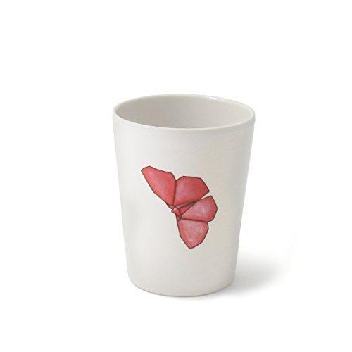 CARTAFFINI ' Schnapsglas Freunde Origami-Schmetterlinge aus Melamin, Ø 6,4cm/h 8,0cm, Fassungsvermögen 180ml-Farbe: weiß Optische