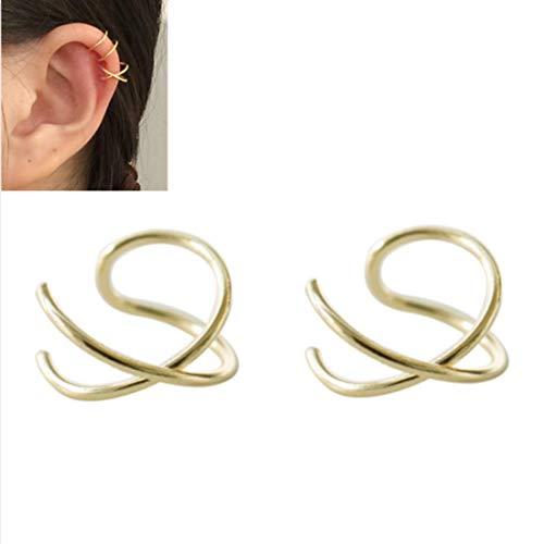 947666729bb1 HOMEYU® 925 Sterling Silver Double Ear Cuff y Criss Cross Ear Ear No Tiene  Piercing Pendiente de cartílago Falso