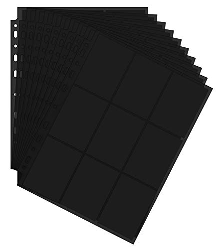 Arkero-G 50 Seiten Premium Pro 18-Pocket Pages Black / Schwarz Standard Ordnerseiten für Sammelalbum z.B MTG Magic, Pokemon, Topps Match Attax Karten