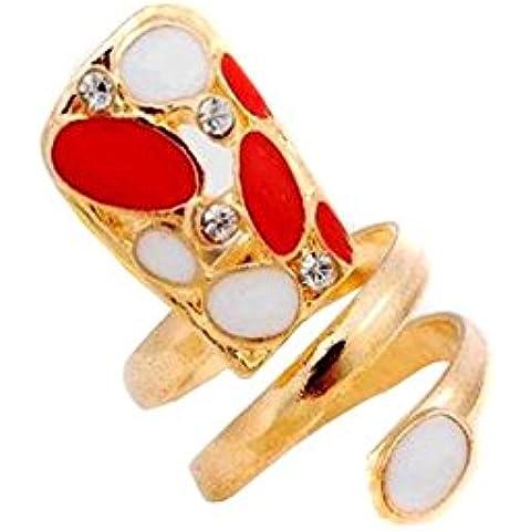Popular diseños de moda señoras niñas Metal Rhinestone goteo anillos de uñas punta de dedo uñas 2pcs