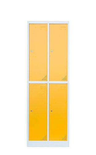 Stahl-Kleiderschrank Garderobenschrank Fächerschrank, 4 Fächer Spind gelb 567222