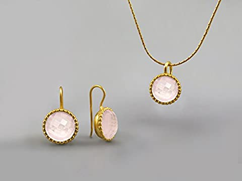 10mm Rose Quartz Gemstones Jewelry Set Women Yellow Gold Plated October Birthstone Jewelry Pink Quartz Necklace Pendant Earring Set Gift for Women Quartz Jewelry Natural Pink Gemstone Jewelry Handmade