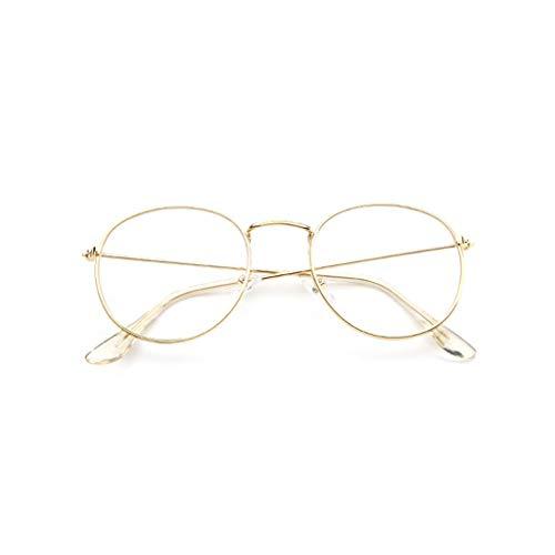 VRTUR Metall Frame Runde Brille Retro Metall Klare Linse Brille, Unisex,Schwarz, Golden, Silbern Farbe, 3 Paar (One size,Gold)