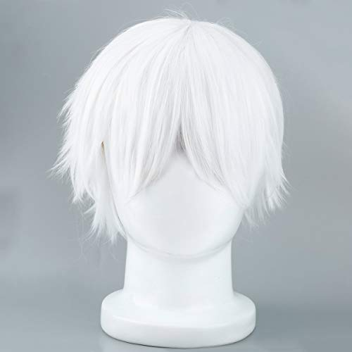 Wafalano Männliche weiße synthetische Perücke für Cosplay Anime -