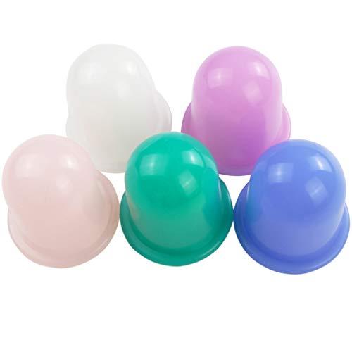 Ben-gi 5PCS / Set Feuchtigkeitsabsorbiervorrichtung Anti Cellulite Schröpfen Cup Gerät Gesichtskörper-Massage-Therapie-Silikon Schröpf - Regime-kit