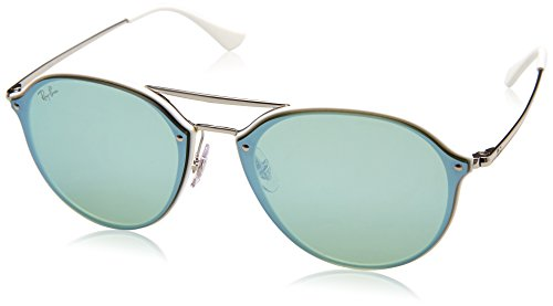 RAYBAN JUNIOR Unisex-Erwachsene Sonnenbrille Blaze Double Bridge White/Darkgreenmirrorsilver 62