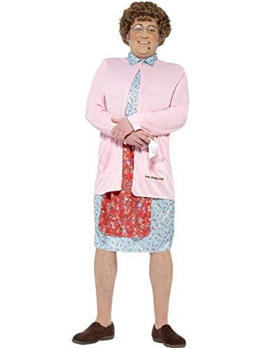 Fancy Ole - Herren Männer Männer gepolstertes Mrs Brown Kostüm mit Kleid, Strickjacke, Perücke, Brille, Taschentuch und Leberfleck, perfekt für Karneval, Fasching und Fastnacht, M, ()