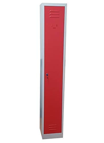 Armadio armadietto spogliatoio in metallo slim salvaspazio dim.cm.30x30x180h (rosso)