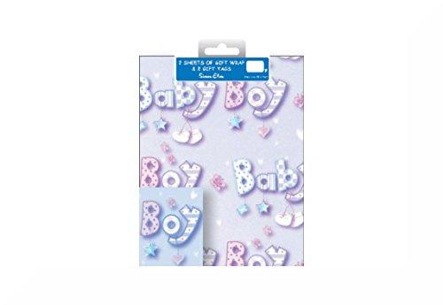 enkpapier und Geschenkanhänger–insgesamt 4Blatt Geschenkpapier und 4Anhänger + ein inspirierender Magnet Baby Boy (Rabatt Baby-dusche Dekorationen)