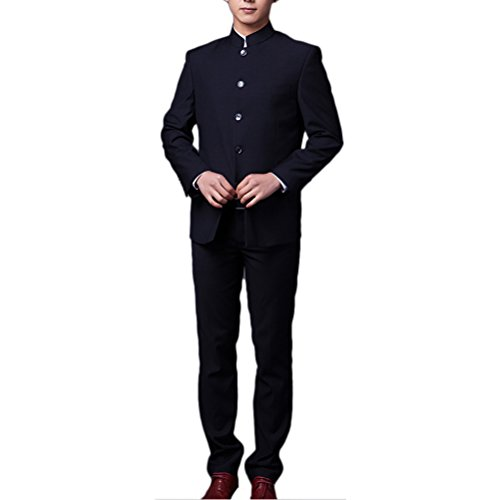 Zhhlinyuan mode Mens Chinese Tunic Suit 2 Piece Wedding Dress Party Traditional Uniform Dark Blue