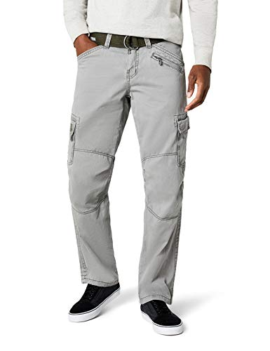 Timezone Herren Hose BenitoTZ Cargo Pants incl. Belt Grün (Dusty Olive 4175) W34/ L32