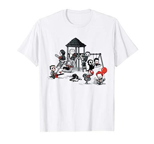 Chengxin Herren t-Shirts 70er Jahre 80er Jahre Kurzarm Tops Herrenmode Print T-Shirt Horror Park Filme böse Kinder lustige Halloween-Bluse Geschenk Tops & Shirts (Color : White, Size : 3XL) (80er Halloween-filme Besten Die Jahre Der)