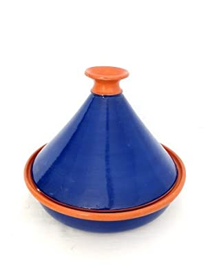 Genuine Traditional Large Glazed Clay Cookable Tagine Blue Cobalt Made By Le Souk from le souk