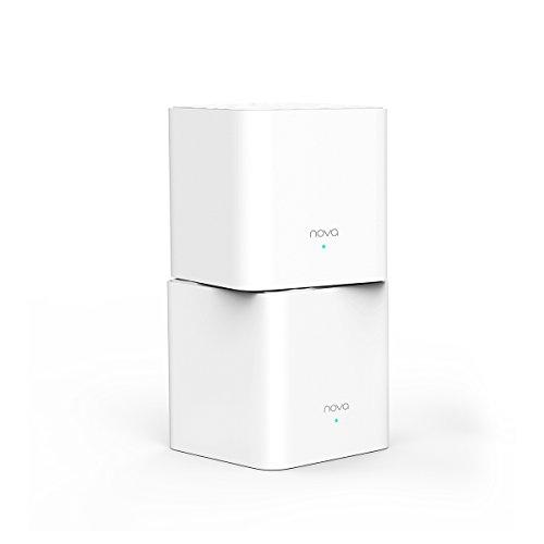 Tenda Nova MW3 2x echtes Dual-Band Mesh WLAN Komplettlösung (Bis zu 200m² WLAN, AC1200, Alexa Kompatibel, 4x LAN Port, Ethernet-Backhaul, QoS, für Häuser, Büros, Wohnungen) Ersetzt Router, Powerline & Repeater
