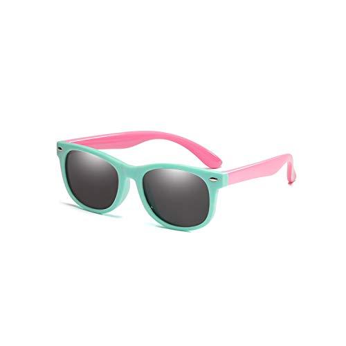 Vikimen Sportbrillen, Angeln Golfbrille,Flexible Polarisiert Kids Sunglasses Child Black Sun Glasses For Baby Girls Boy Sunglasses Eyeglasses 1.5-11 Years Kids Glasses Light Green Pink