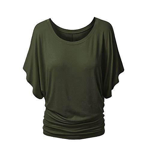 Damen Kurzarm Rundhals Einfarbig T-Shirt Flying Sleeve Slim Top (Color : Green, Size : XL) -