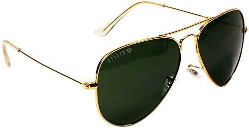 AISLIN® Non-Breakable Aviator Unisex Sunglasses (G-15 Green Lens)(AS-3025DH-2-GLD)