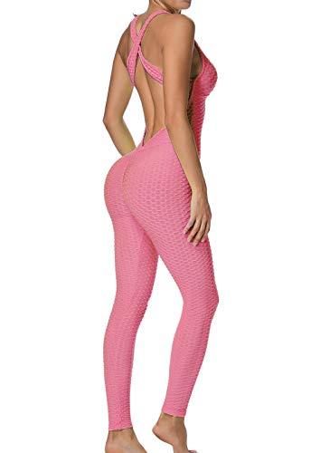 FITTOO Mallas Pantalones Deportivos Leggings Mujer Yoga de Alta Cintura Elásticos y Transpirables para Yoga Running Fitness Con Gran Elásticos1370 Rosa XL