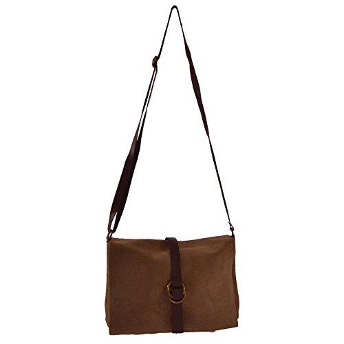 CTM L'embrayage de la femme, petit sac à bandoulière en cuir véritable en daim italien fabriqué en Italie 23x16x9 Cm