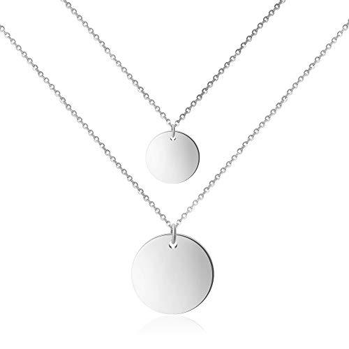 ® Double Coinkette für Damen (45 cm lang) Zweireihige Kette silber silberne silver Halskette silbernekette kettesilber Damenhalskette Frauen Mädchen Frauenkette Woman Frauenhalskette