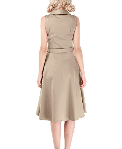 LUOUSE Damen Kleid Neckholder 50er Blumen Schaukel Pinup Rockabilly Vintage Kleid V049-Beige
