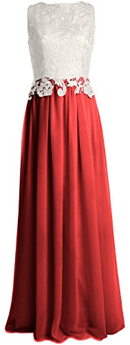 MACloth Women Lace Chiffon Long Prom Dress Wedding Party Bridesmaid Formal Gown Burgunderrot