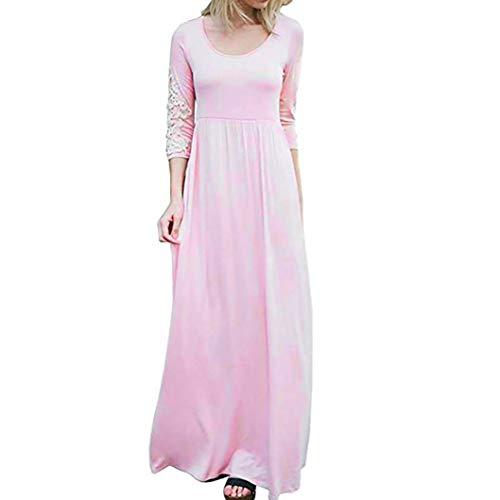 SHOBDW Damen Solide Applique Siebenviertel Ärmel Hohe Taille Boho Lange Maxi Kleider Bodenlänge Abendkleid Maxikleider