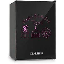 Klarstein Spitzbergen M Réfrigérateur : capacité 70l, CEE A+, 2 tablettes en verre flexible, compartiment congélation: 8 litres, ZestfulART Design: porte sur laquelle on peut écrire et marqueur, noir
