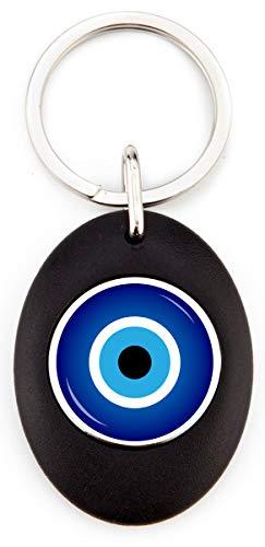 G1 Schlüsselanhänger Amulett Türkisches Auge | Schlüsselanhänger Acryl rund mit Münze für Einkaufswagen | robuster Schlüsselanhänger | Farbe schwarz | Elegantes Design (1 Stück) -