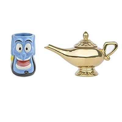 Idéal Maison Set de théière Lampe de aladdín + Tasse Genio Original De Disney, Céramique Peinte à la Main