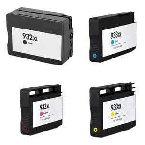 Set of 4 Compatible Black / Cyan / Yellow / Magenta Multipack Printer Ink Cartridges Replacement for HP 932XL Black and 933XL. CN053AE CN054AE CN055AE and CN056AE