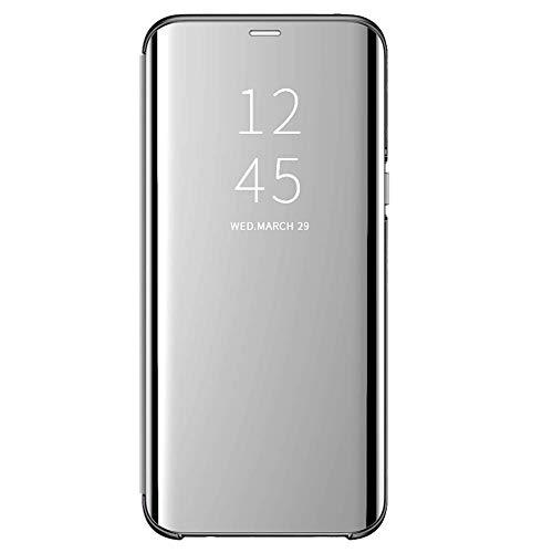 Funda para Xiaomi Mi 8 Lite Suave + Duro Carcasa Espejo Mirror Flip Caso Ultra Delgada Shock Caja del Teléfono Translucent Window View (Plata, Xiaomi Mi 8 Lite)