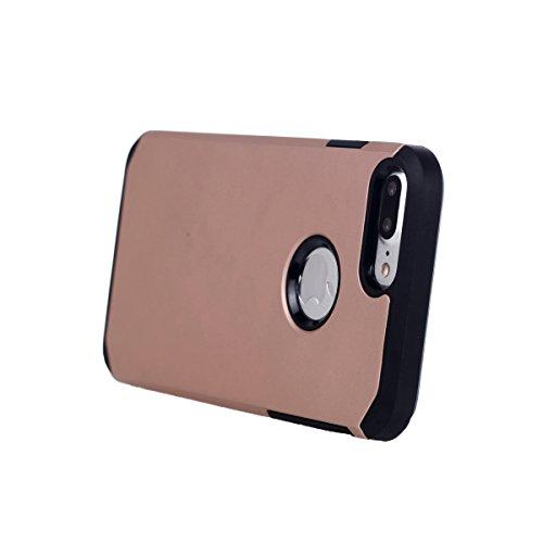 """MOONCASE iPhone 7 Plus Coque, Dual Layer Housse Hybride TPU +PC Etui Antichoc Protection Armure Case pour iPhone 7 Plus 5.5"""" Gris Rose Or"""