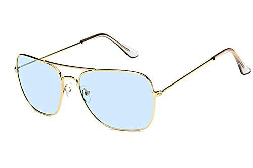 Sonnenbrille Trapez Pilotenbrille 400UV Metallgestell getönt verspiegelt korean hoher Steg unisex Damen Herren Brillen koreanisch Retro Vintage 70er jahre Sonnenbrillen Trend Designer CE (hellblau)