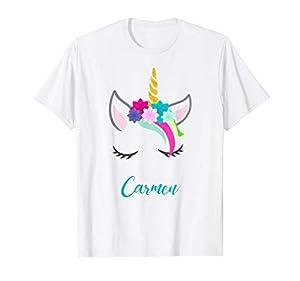 T-Shirt Personalizada Nombre Carmen Unicornio