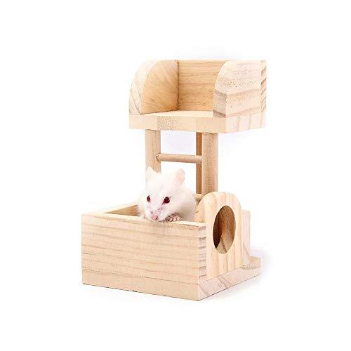 Kleintierleiter Versteck Hütte, Pet Hamster Holzplattform Haus Observatorium, Übung Spielen Hideaway Shelter kaut Spielzeug für Rennmaus, Maus, Chinchilla, Ratte (Home-observatorium)