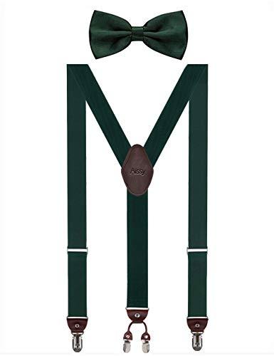 Aissy Herren Hosenträger 3.5cm Y-Form Elastisch und Längenverstellbar Hosenträger Breit mit 4 starken Clips und Fliege für Herren Damen Grün -
