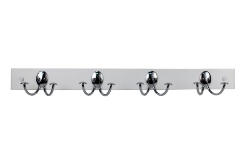 Spectrum Diversified Stratford Wood Hook Rack, 4 Double Hook Rack, Chrome/White
