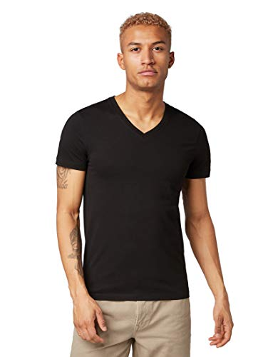 Bio-jersey V-neck Tee (TOM TAILOR Denim Herren V-Neck T-Shirt,per Pack Schwarz (Black 29999),X-Large (Herstellergröße:XL))