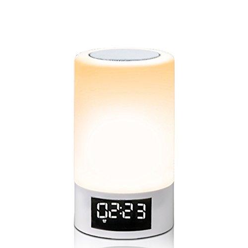 Wake-Up Light RGB Lichtwecker Bluetooth Lautsprecher LED Farbwechsel Lampe Nachttischlampe Touch control lampe, Kinder Nachtlicht Modus, Musik Stimmungslicht Tischlampe, Zeituhr, TF-Karten-Musik Spielen, Schlafmodus, Handsfree Anruf