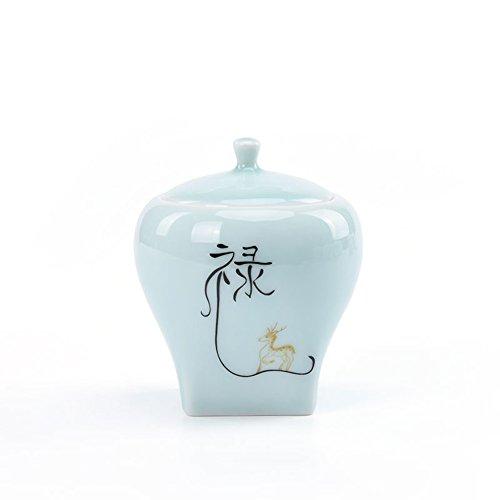 Vaso di porcellana,Canister de thé,Coffres de stockage de thé,Service à thé Scellé de boîtes en céramique Pot de stockage pour le thé puer. Le caddy-D 8x10cm(3x4inch)