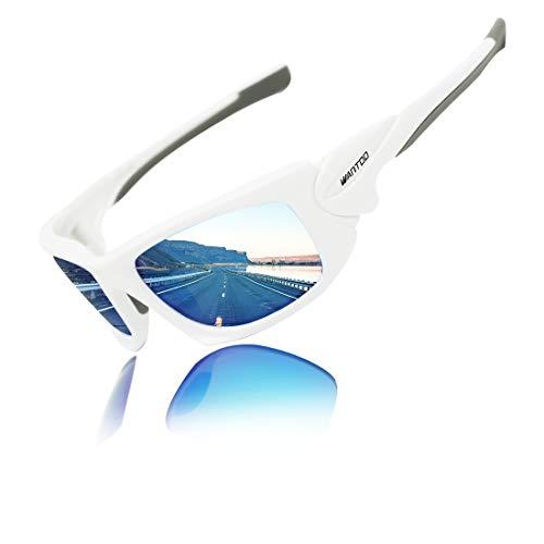 Wantdo Shatterproof polarisierte Sport-Sonnenbrille UV400 TR 90 unzerbrechliche Rahmen-Sonnenbrille für Männer Blau OneSize