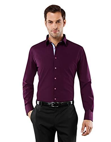 Vincenzo Boretti Herren-Hemd bügelfrei 100% Baumwolle Slim-fit tailliert Uni-Farben - Männer lang-arm Hemden für Anzug Krawatte Business Hochzeit Freizeit aubergine 39/40