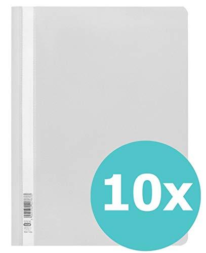 ELBA 100742142 Schnellhefter A4 10er Pack aus Kunststoff für ca. 160 DIN A4-Blätter in grau