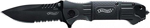 Walther Black Tac Knife TK Einhandmesser mit mattschwarzer Klinge und partiellen Wellenschliff inkl. 440ssGlasbrecher