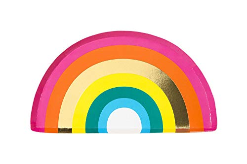 Talking Tables RAIN Happy Birthday Rainbow Shaped Plate, With Foil (12Pk), Papier, Gold and Mixed Colors