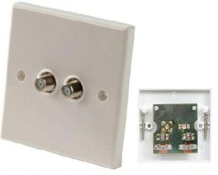 Double F Type Coaxial Wall Socket Plate Tv Ntl Sky by Electromart F-type Wall Plate