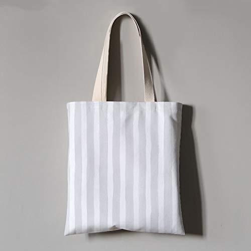 Streifen-große Tote (JUNSTD Tote Bag,Grau-Weiße Persönlichkeit Streifen Kunst Student Canvas Tasche Tragbare Grüne Einkaufstasche Unisex Täglichen Pendler Tasche Hand Große Kapazität Falten Waschen,Groß (40X45Cm))