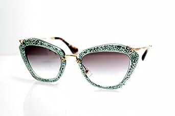 Miu Miu 10NS TKA1E0 Green Silver Glitter 10Ns Cats Eyes Sunglasses Lens Categor